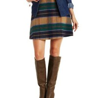 Multi Plaid A-Line Mini Skirt by re:named at Charlotte Russe
