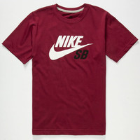 Nike Sb Logo Boys T-Shirt Wine  In Sizes