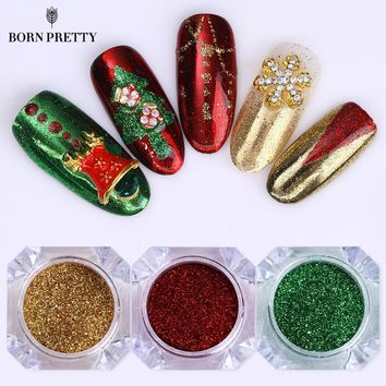 3 Boxes Christmas Series Nail Glitter Powder Set Mirror Colorful Dust Chrome Pigment Powder Manicure Nail Art Decorations