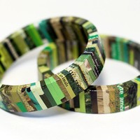 Recycled Magazine Eco Bangle Bracelet Urban Camo | SquishySushi - Jewelry on ArtFire
