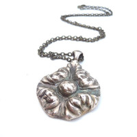 Victorian bronze flower pendant necklace, made from vintage button mold