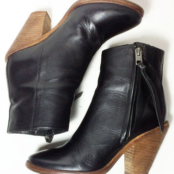 AllSaints Spitafields Black Leather Ankle Rocker Motorcycle Biker Riding Boots Women's Size 36 Size 5.5