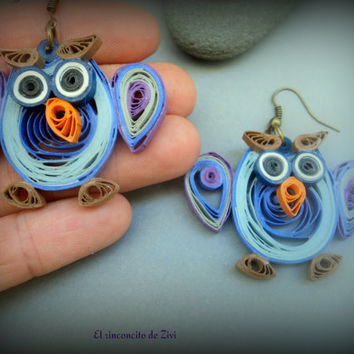 Paper quilled gray owl earring, eco friendly, cute owls earring, paper quilling earring, colorful earring, owls earring, owl lovers, earring