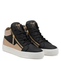 Giuseppe Zanotti Gz Kriss Black Calfskin Leather Mid-top Sneaker With Beige Inserts