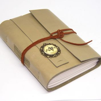 Light Sage Green Leather Journal with Blank Paper - Cameo - Travel Diary - Handmade - Sketchbook - Wedding - Gift - Ready to Ship