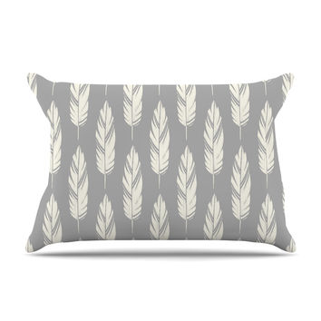 "Amanda Lane ""Feathers Gray Cream"" Grey Pattern Pillow Case"