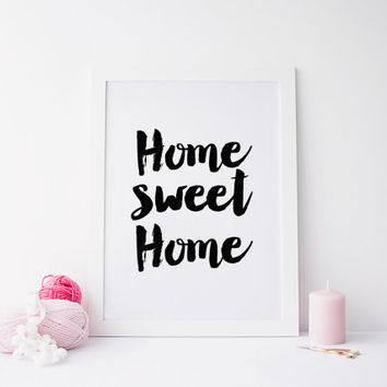 Home Sweet Home Print, Printable Art, Typography Art, Gold Print, Modern Wall Art, Home Gift, Instant Download, Housewarming Gift,Typography