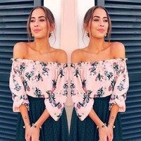 Carolyn Floral Off The Shoulder Top - Fashion Summer Women Floral Casual Loose Blouse Off Shoulder Crop Tops T-Shirt