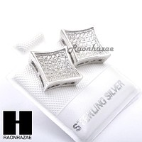 Iced Out Sterling Silver .925 Lab Diamond 10mm Square Screw Back Earring SE017S