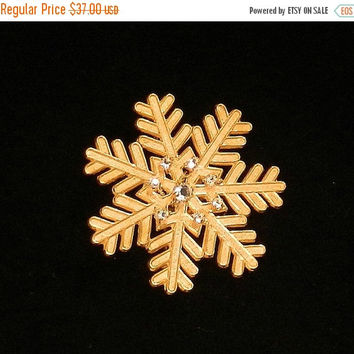SALE Vintage Miriam Haskell Brooch, Gold Snowflake Brooch, Clear Rhinestone Holiday Pin, Christmas Brooch.