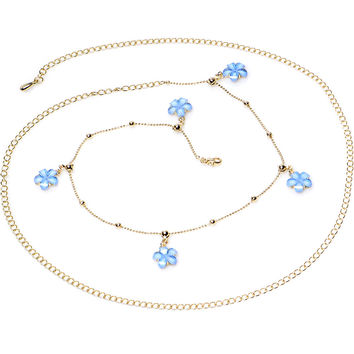"38"" Baby Blue Spring Flower Bead Dangle Belly Chain"