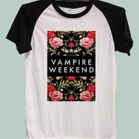 Vampire Weekend Flower Floral Shirts TShirt T-Shirt Jersey Baseball Raglan Tee Short Sleeve Women Size S M L XL