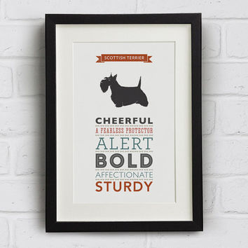 Scottish Terrier Dog Breed Traits Print - Gift for Scottie lovers