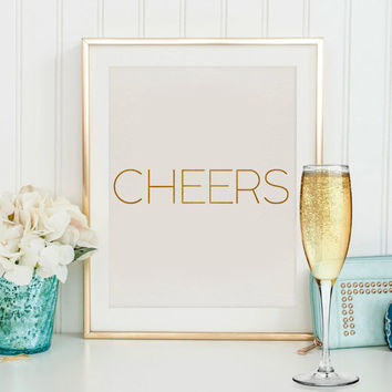 Wall art Cheers party PRINTABLE art print gold glitter holiday decor New Years party decor,New Years sign,Cheers poster,New Years glitter