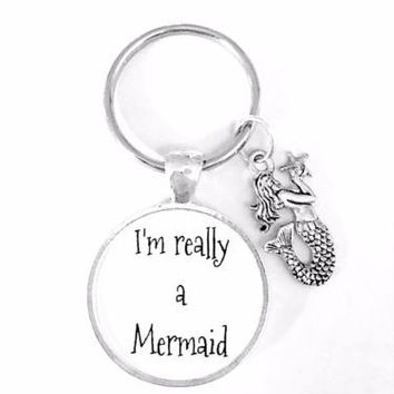 Gift For Her I'm Really A Mermaid Beach Ocean Nautical Sea Gift Keychain