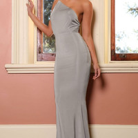 Grey Prom Party Long Dress with Low Cut-out Back