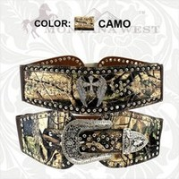Montana West Mossy Oak Stretch Belt with Winged Cross
