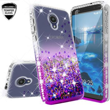 Alcatel 1x Evolve Case Liquid Glitter Phone Case Waterfall Floating Quicksand Bling Sparkle Cute Protective Girls Women Cover with Temper Glass for 1x Evolve - Purple