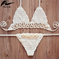 shell Handmade Crochet Bikini set women crochet Swimsuit Brazilian biquini 2016 Crochet Swimwear Bathing Suit fashion beachwear