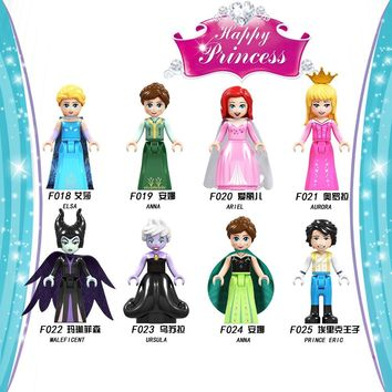For Legoing Princess Friends Figures Bricks Mermaid Snow White Ice Queen Sleeping Beauty Model Building Blocks Toys For Girls