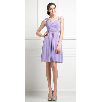 Cinderella Divine 3832 Lavender Chiffon Thick Strap Sweetheart Neckline Short Cocktail Dress