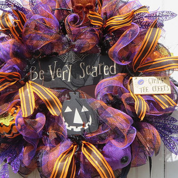 Lighted Halloween Door Wreath, Halloween Deco Mesh Wreaths, Halloween Front Door Wreath, Halloween Wreaths, Halloween, Be Very Scared Sign