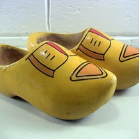 Vintage Child's Wooden Shoes Dutch Clogs Yellow 31