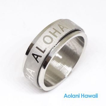 Aloha Stainless Steel Ring (8mm width, Flat style)