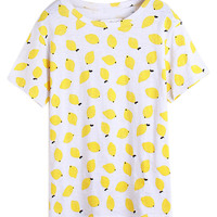 White Fruit Print Short Sleeve Shirt