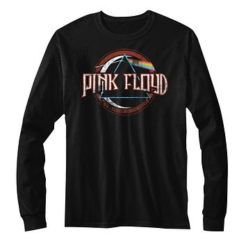 Pink Floyd Long Sleeve T-Shirt Distressed The Dark Side of The Moon Black Tee