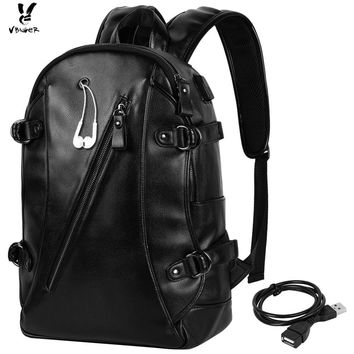 Vbiger Men PU Laptop Backpack Casual Large Capacity School Bag with USB Cable Perfect for Holding 15'' Laptop iPad Notebook