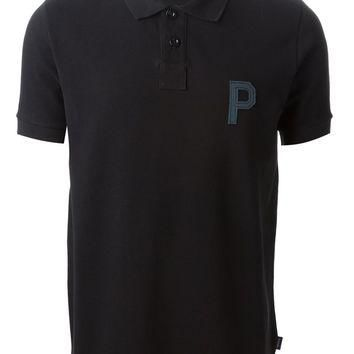 Paul Smith branded patch polo shirt