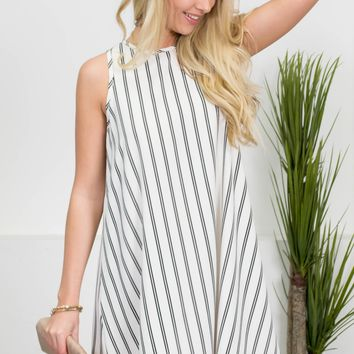 Palm Springs Striped White Dress