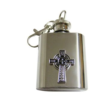 Large Textured Cross 1 Oz. Stainless Steel Key Chain Flask