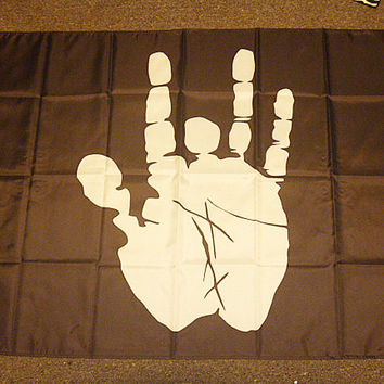 Jerry Garcia Hand Grateful Dead Inspired Black Outdoor Flag 3 x 5 hippie