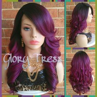 READY To SHIP // Long & Curly Lace Front Wig, Ombre Wine/Purple Wig, Dark Rooted Bombshell Wig // SALVATION (Free Shipping)