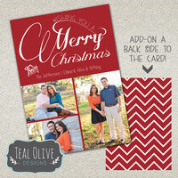 Christmas Card \ Add-on Back Design \ Merry Christmas \ Holiday Card \ 5x7