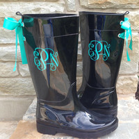 Monogramed Black Gloss Rain Boots with Turquoise Bow
