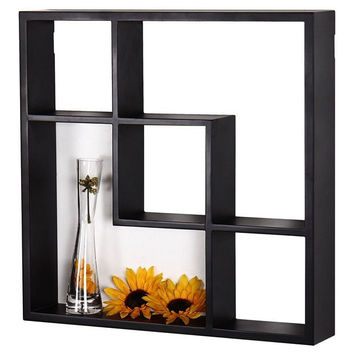 Aakashi Chocolate Brown Geometric Wall Shelf
