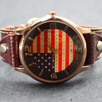Unisex Retro US Flag Leather Watch
