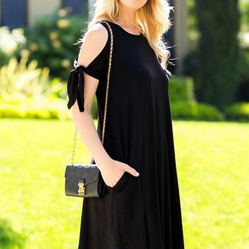 Marley Bow Tie Sleeve Cold Shoulder Swing Dress