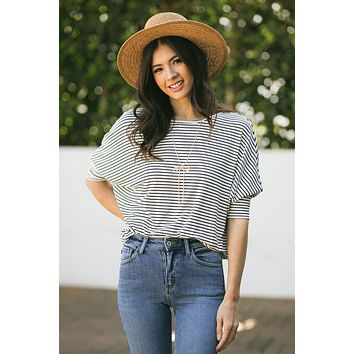 Betty Dolman Sleeve Striped Top