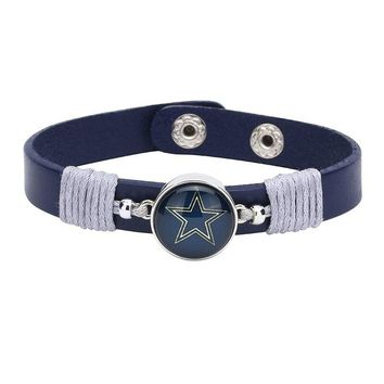 10pcs/lot! Adjustable Premium Leather Ginger Snaps Bracelet with a Dallas Cowboys 18mm Snap  for Men,Women and Teens