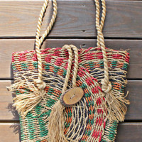 Handmade Woven Natural Jute Colorful Rainbow Summer Festival Tote Bag