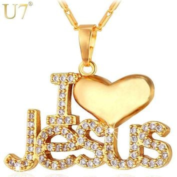 "U7 CZ Jesus Heart Necklace & Pendant For Women/Men Silver/Gold Color Christian Jewelry ""I Love Jesus"" Gifts For Christmas P610"