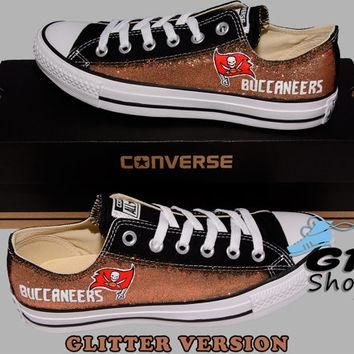 Hand Painted Converse Low. Tampa Bay Buccaneers, Football. Handpainted shoes. Glitter