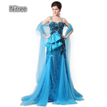 Sexy Mermaid Sequined Prom Dresses Long Spaghetti Straps Sparkling High Quality Evening Vestidos Gowns with Tulle Train and Wrap