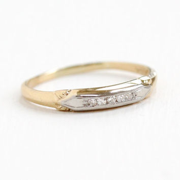 Vintage 14k Yellow & White Gold Diamond Wedding Band Ring - Art Deco 1930s 1940s Size 7 1/4 Fine Engagement Bridal Jewelry