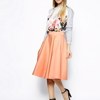 ASOS Full Midi Skirt In Scuba With Pockets - Peach