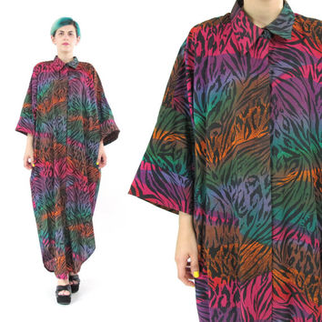 80s Maxi Shirt Dress Rainbow Zebra Print Dress Oversize Cotton Shirt Dress Simon Chang Designer Plus Size Collared Button Down Dress (L/XL)